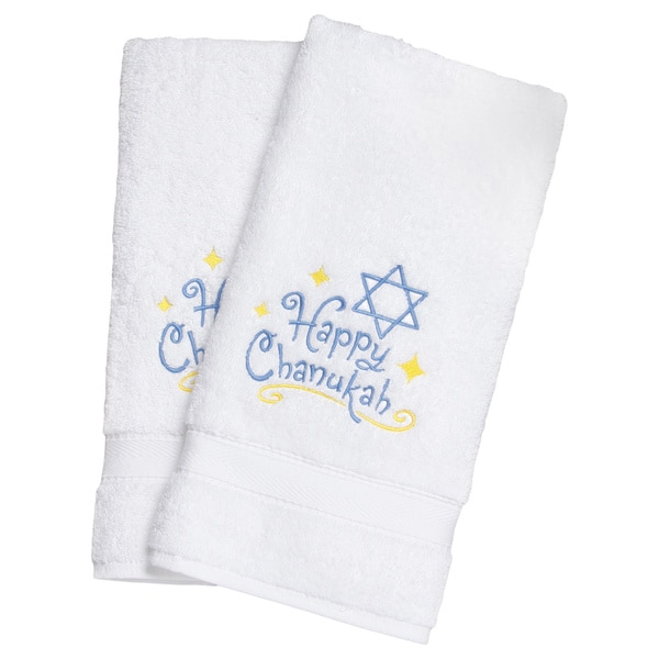 Embroidered Happy Chanukah Holiday Turkish Cotton Hand Towels (Set of 2)