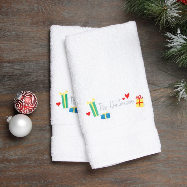 Embroidered Tis the Season Holiday Turkish Cotton Hand Towels (Set of 2)
