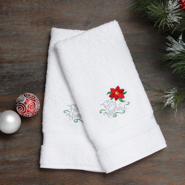 Embroidered Feliz Navidad With Poinsettia Holiday Turkish Cotton Hand Towels Set Of 2 On