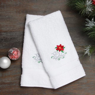 Embroidered Feliz Navidad with Poinsettia Holiday Turkish Cotton Hand Towels (Set of 2)