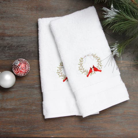 Embroidered Holiday Wreath and Cardinals Holiday Turkish Cotton Hand Towels (Set of 2)