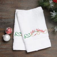 Embroidered Feliz Navidad Holiday Turkish Cotton Hand Towels (Set of 2)