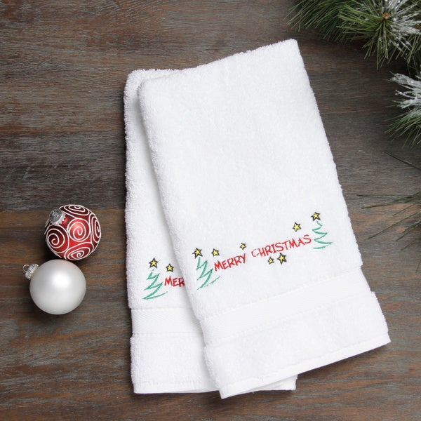 Embroidered Merry Christmas With Stars Holiday Turkish Cotton Hand Towels Set Of 2 On Sale