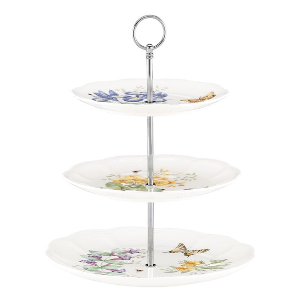 Shop Lenox Butterfly Meadow 3 Tiered Server Free