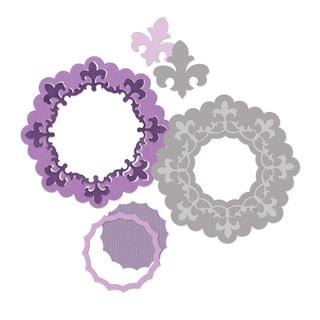 Sizzix Framelits Die Set 3PK Frame, Circle w/Fleur de Lis Edging by Rachael Bright