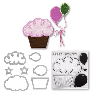 Sizzix Framelits Die Set 7PK w/Stamps - Balloons & Cupcakes by Stephanie Barnard