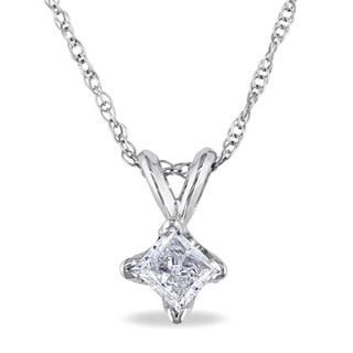 Miadora 14k Gold 1/3ct TDW Diamond Solitaire Necklace (J-K, I2-I3)