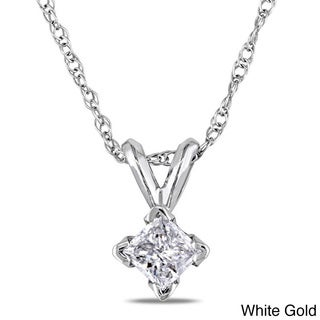 Miadora 14k Gold 1/4ct TDW Diamond Solitaire Necklace