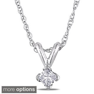 Miadora 14k Gold 1/10ct TDW Diamond Solitaire Necklace (J-K I2-I3)