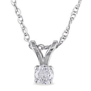 Miadora 14k Gold 1/10ct TDW Diamond Solitaire Necklace (J-K I2-I3)