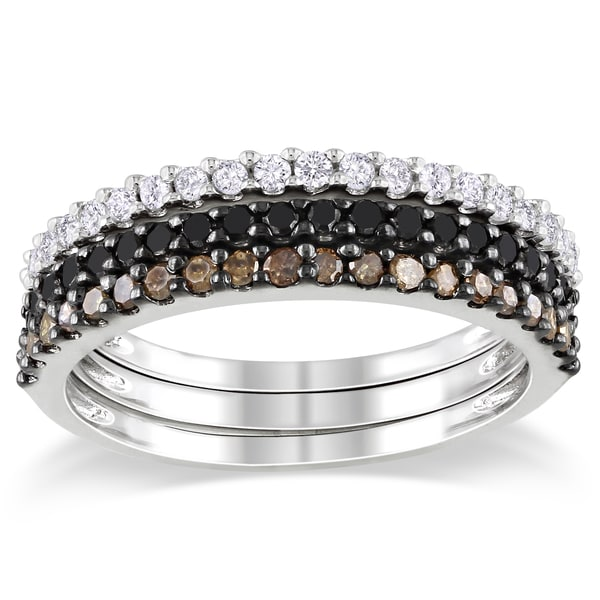 Sterling Silver 5/8ct TDW Black, Brown and White Diamond Ring Set