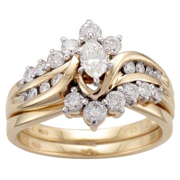 unending love 14k yellow gold 1ct tdw marquise diamond bridal set - Marquise Diamond Wedding Ring