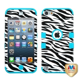 Insten Black/ White Zebra Tuff Hard PC/ Silicone Dual Layer Hybrid Glossy Case Cover For Apple iPod Touch 5th/ 6th Gen