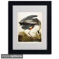 John James Audubon 'Great Blue Heron' Framed Matted Art