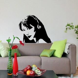 'Silhouette of Girl in Headphones' Vinyl Wall Decal