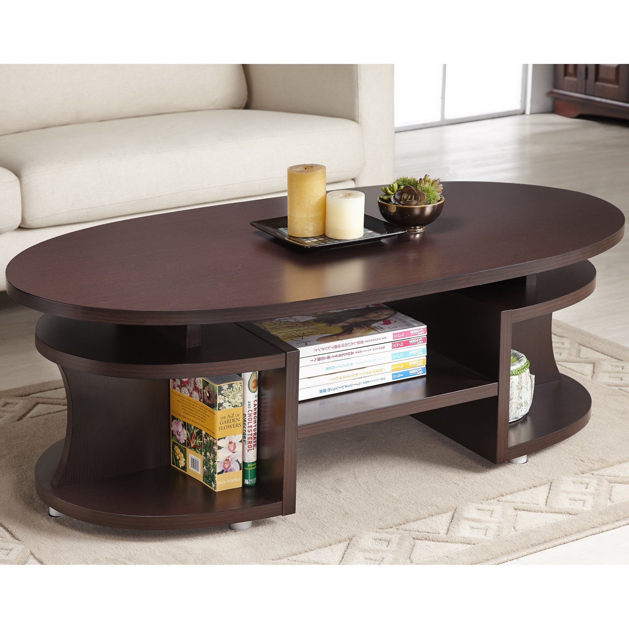 Bushwick Myrtle Modern Elliptical Multi-shelf Walnut Coffee Table
