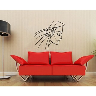 'Silhouette of Girl in Headphones' Vinyl Wall Decal