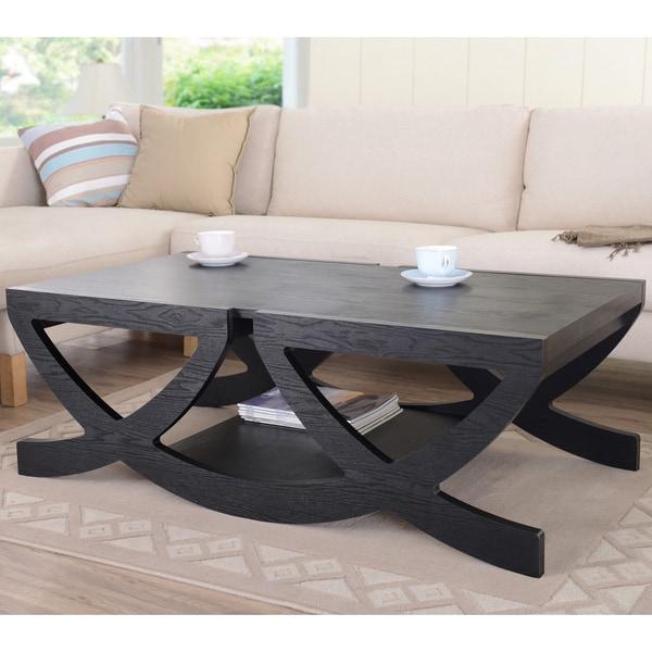 Furniture of America Modern Black Single Shelf Coffee Table