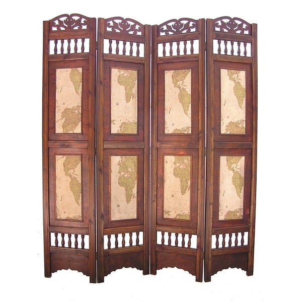 Old World Map 4 Panel Wooden Frame Room Divider Screen