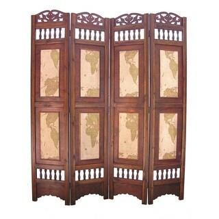 old world map 4panel wooden frame room divider screen