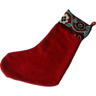 Handmade Refurbished Burgundy Vintage Suzani Christmas Stocking (Uzbekistan)