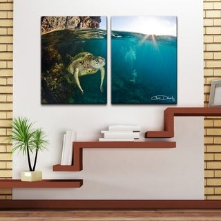 Chris Doherty 'Maui Turtle & Divers' 2-piece Oversized Canvas Wall Art