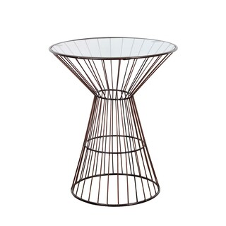 Bronze Wire Frame Tall Side Table with Glass Top