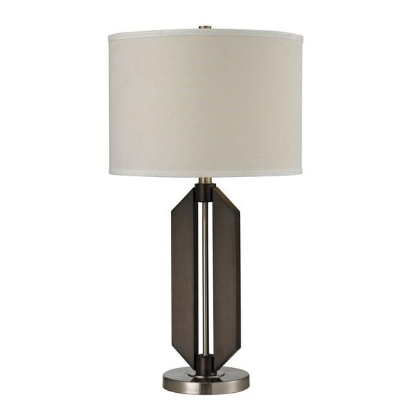 1-Light Wood/ Brushed Steel Table Lamp