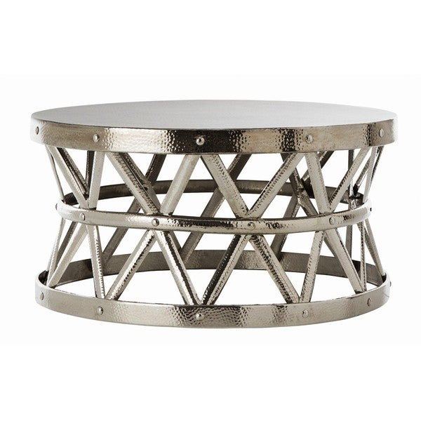 Shop Hammered Drum Cross Silver Coffee Table Free Shipping Today - Hammered silver side table