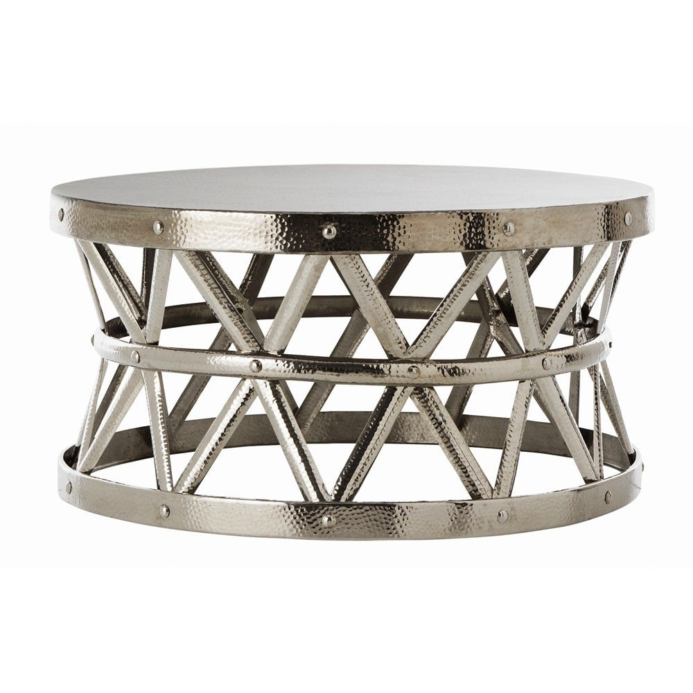 Hammered Drum Cross Silver Coffee Table - Hammered Drum Cross Silver Coffee Table - Free Shipping Today