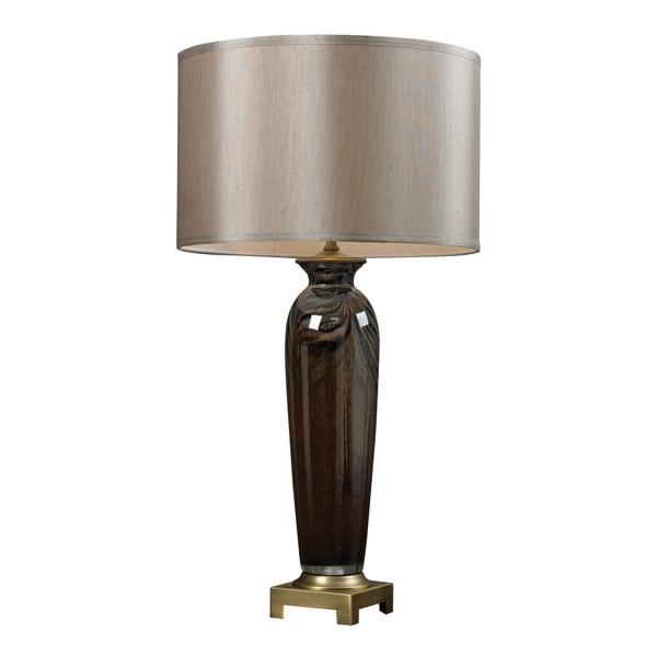 1-light Coffee Swirl Glass Table Lamp