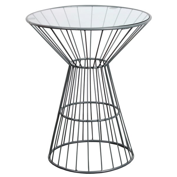 Grey Wire Framed Side Table with Glass Top