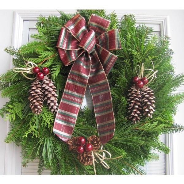 Fresh Maine Balsam Burgandy Plaid Country Wreath