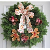 Fresh Maine Balsam Gingerbread Men and Candy Wreath