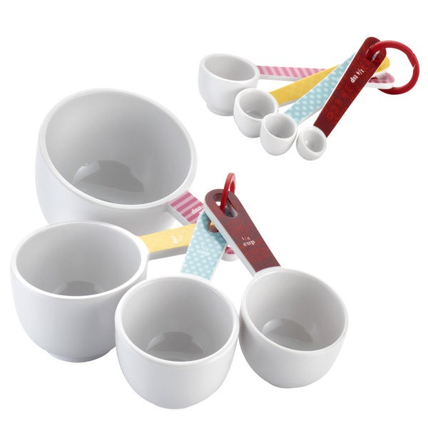 Cake Boss Countertop Accessories 8-piece Basic Pattern Melamine Measuring Cups and Spoons Set