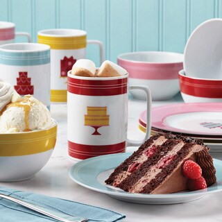 Cake Boss 12-Piece Porcelain Dessert Serving Set, 'Mini Cakes' Pattern