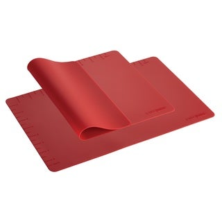 Cake Boss Countertop Accessories 2-piece Red Silicone Baking Mat Set