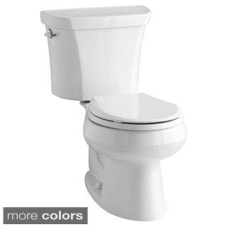 Kohler K-3987 Wellworth Two-Piece Round-Front Dual-Flush Toilet With Class Five Flush Technology And Left-Hand Lever, Less Seat