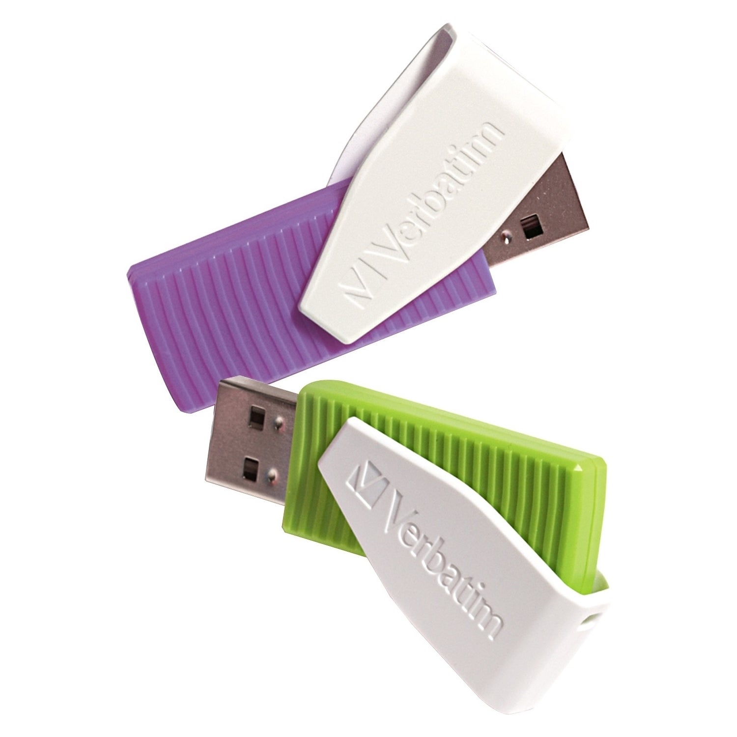 Verbatim 16GB Swivel USB Flash Drive - 2pk - Green, Viole...
