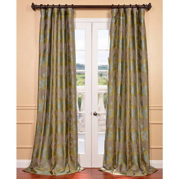 Exclusive Fabrics Borneo Peacock Blue Ikat Jacquard Curtain Panel