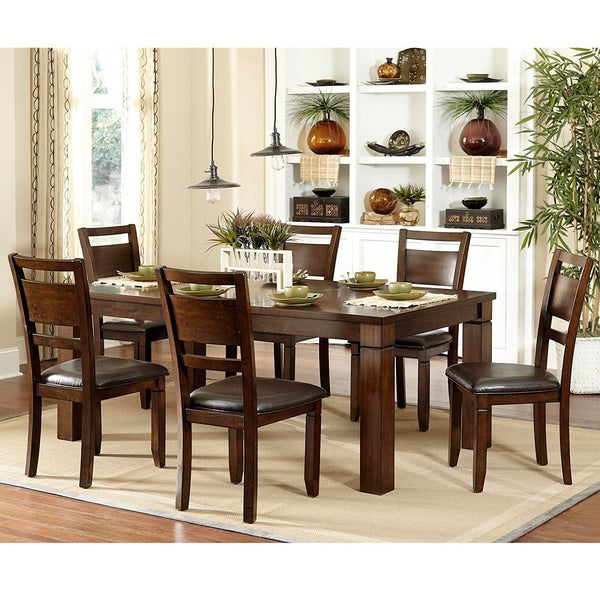 TRIBECCA HOME Coral Walnut 7 Piece Extending Table Dining