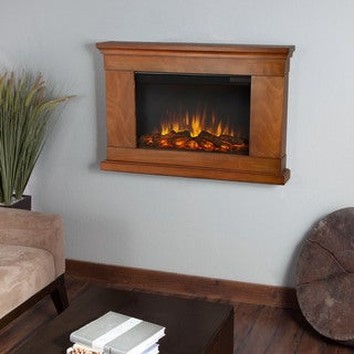 Real Flame Jackson Pecan Finish 38.4 in. W x 6.1 in. D x 26.1 in. H Electric Fireplace