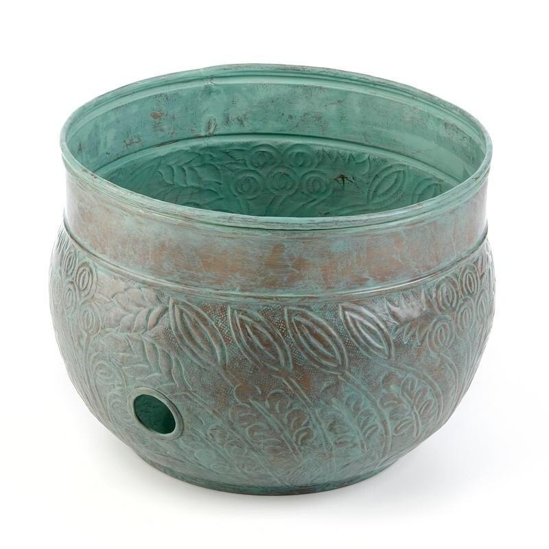 Good Directions Key West Blue Brass Hose Pot with Polishe...