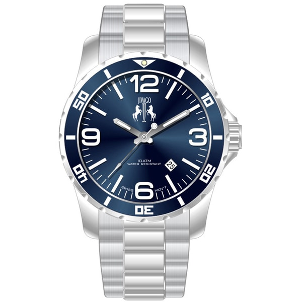 Jivago men 39 s ultimate blue silver watch free shipping for Overstock free returns