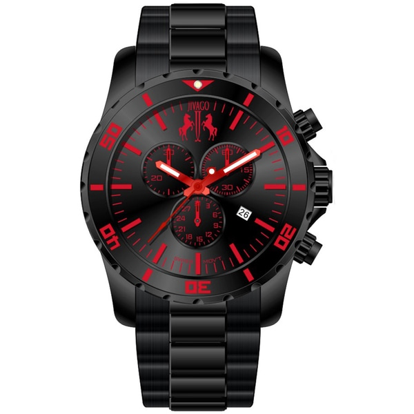 Shop Jivago Men's Ultimate Black-and-Red Chronograph Watch ...