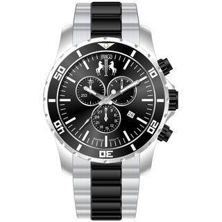 Jivago Men's Ultimate Black-and-Silver Chronograph Watch