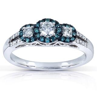 Annello by Kobelli 14k White Gold 1/2ct TDW Blue and White Round Diamond Ring