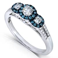 Annello by Kobelli 14k White Gold 1/2ct TDW Blue and White 3 Stone Halo Diamond Ring