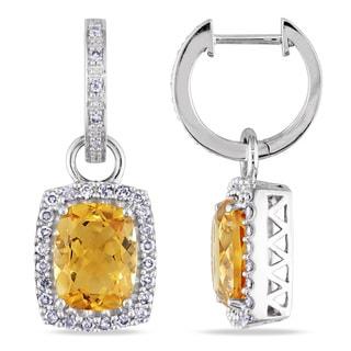 Miadora 14k White Gold Citrine and 1/2ct TDW Diamond Earrings (G-H, I1-I2)