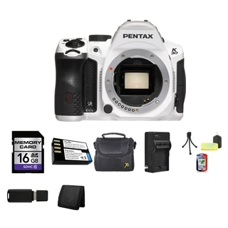 Pentax K-30 16.3MP Crystal White DSLR Camera Body Only 16GB Bundle